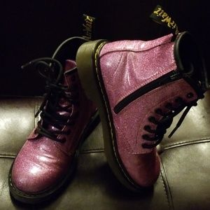 Dr. Martens Dark Pink Glitter Boots